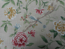 Sanderson Curtain Fabric 'Porcelain Gardens' 3.45 METRES Red/Beige  Linen Blend