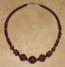 Vtg ANTIQUE ~ 1930's DECO CZECH Chocolate Brown GLASS BEAD Metal Cog NECKLACE