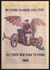 STEAMPUNK VINTAGE FLYING MACHINE PRINT Dictionary Page Wall Art Picture Quirky
