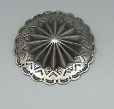 Large Vintage Fred Harvey Era Silver Stamped Concho Pin Brooch 23.5 Grams