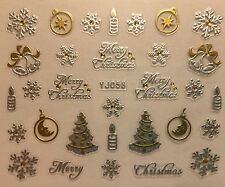 Nail Art 3D Decal Stickers Merry Christmas Tree Snowflakes Candles Bells YJ058