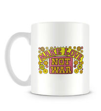 Make Love Not War Quote with Hippie Flowers and Floral Print Mug