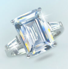 8 ct Emerald Cut Ring W/ Bag Vintage Top Russian  CZ  Moissanite Simulant  7