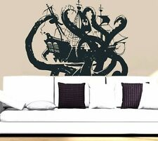 Wall Decal Vinyl Sticker Pirates Ship Skull Guns Boat Octopus tentacles r802