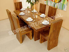 Cube Style Wooden Wood Dining table with 6 chairs dining room furniture set !