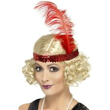 Womens Charleston Wig w Sequin Headband Short Bob Fancy Dress Gangster Curly Fun