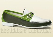GUCCI mens 11* olive/green RAFER rubber sole HORSEBIT Loafer shoes NIB Authentic