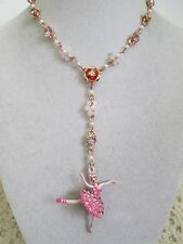 NWT Auth Betsey Johnson Ballerina Rose Pink Dancer Rose Charm Chain Y Necklace
