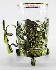 Russian Traditional Tea Glass Holder podstakannik Victory Day 1945 + Glass №15