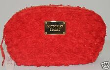 VICTORIA'S SECRET RED ROSE BLOSSOM FLORAL MAKEUP COSMETIC CASE TRAVEL BAG CLUTCH