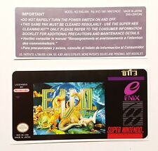 REPLACEMENT SNES CARTRIDGE STICKER LABELS FOR: E.V.O : THE SEARCH FOR EDEN