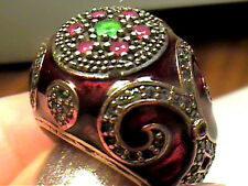 VINTAGE ANTIQUE RUBY emerald ENAMEL SILVER RING 6.5 WHITE SAPPHIRE STERLING 925