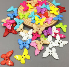 100PCS Mixed Color Resin Butterflies Sewing Buttons Scrapbooking Decoration 21mm