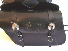 "New genuine black cowhide leather motorcycle saddle bags 13""x 10""x 5""made USA"
