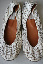 LANVIN BALLERINA NATURAL SNAKESKIN FLATS PUMPS 38.5 UK 5.5 US 8.5
