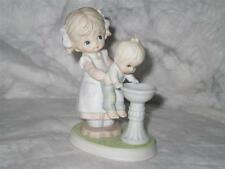 Homco 1406 Boy-Girl Sister helping Brother at Water fountain Porcelain Figurine