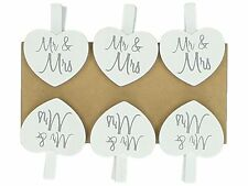 Set of 6 Mr & Mrs Small Wooden Heart Pegs Wedding Place Card Holder White Clips