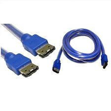 1.5m eSATA to eSATA 6GB Data Lead External Sata 3 Shielded Cable Blue