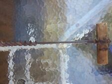 """Large Antique Farm Tool Barn BEAM AUGER 1"""" BIT HAND DRILL + WOODEN HANDLE!"""
