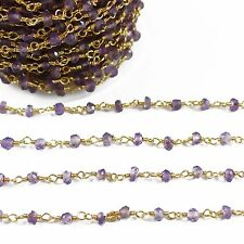 Amethyst Rosary Beaded Chain Gold Plated Delicate Chain By 1 Foot Jewelry Supply