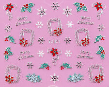 Christmas SILVER White Snowflake Holly & Ivy Pic Frame 3D Nail Art Sticker Decal