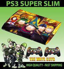 Playstation ps3 super slim South Park Bâton Vérité de la peau autocollant & 2 pad peau