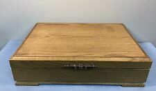 "Oak Flatware Storage Case Box Anti Tarnish Felt Lined 17"" x 11 1/2"" x 4 1/2"""