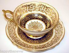 PARAGON Cup & Saucer Cobalt Blue Gold Gilt Center Medallion Bone China England