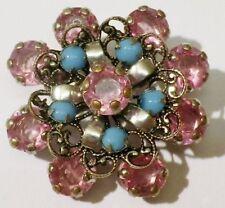 broche vintage couleur argent ronde cristaux rose perle bleu turquoise 4482