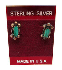 NEW! Sterling Silver SOUTHWESTERN Inlaid MALACHITE Post Back Earrings