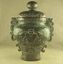 830g CHINESE JADE WITH CARVED 2 DRAGON EAR HAWK TOTEM POT WITH LID