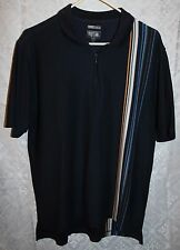 Adidas Polo Style Shirt Sz M Partial Zip Polo Golf Mens Navy Blue Stripes