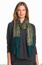Eileen Fisher Colorblock Wool Scarf Caper Green Blue Lacy Tendrils Gauzy NWT