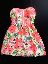 NWT bebe coral white floral printed bustier strapless flare top dress L large