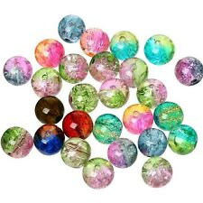 100pcs glass crackle beads 6mm mixed colour rainbow