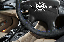 FOR HYUNDAI TUCSON MK1 PERFORATED LEATHER STEERING WHEEL COVER BLUE DOUBLE STICH