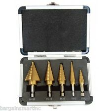 "New 5pc SAE Step Drill Bit Set HSS Cobalt Coating Unibit 1/4"" & 3/8"" Shank"