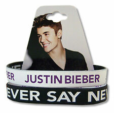 JUSTIN BIEBER NEVER SAY NEVER 2-PK B&W REVERSIBLE SILICONE WRISTBANDS NEW NWT