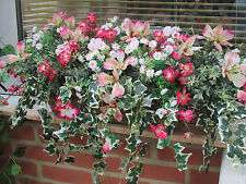 ARTIFICIAL REALISTIC  FLOWERS IN WILLOW TROUGH, WINDOW BOX  PINK MIX