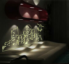 GLOW IN THE DARK CITY AT NIGHT POSTER STICKERS WALL ART LIVING ROOM DECORATION