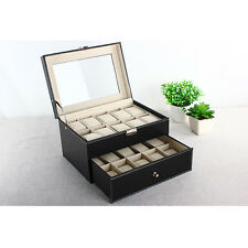 20 Slot Leather Watch Box Case Organizer Glass Top Display Jewelry Storage Large