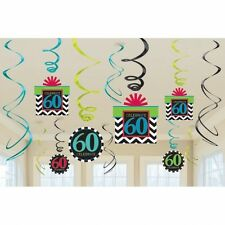 AGED 60 60TH CELEBRATE HAPPY BIRTHDAY PARTY SWIRLS HANGING DECORATION PACK OF 12