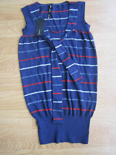 LADIES NAUTICAL STRIPES BOW KNIT WINTER TUNIC BLOUSE SIZE 8-10 BLUE JUMPER TOP