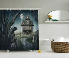 Halloween Home Decoration Haunted House Fabric Shower Curtain Art Bathroom