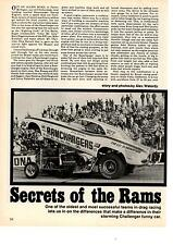 1971  DODGE CHALLENGER FUNNY CAR / RAMCHARGERS RACE TEAM  ~  7-PG ARTICLE / AD