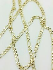 "14k Solid Yellow Gold Figaro Link Necklace Pendant Chain 16"" 2.8mm"