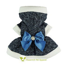 """Fitwarm 14""""Chest Rhinestones Bow Dog Dress Small Pet Clothes Sweater Winter Coat"""