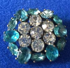 Vintage Silver Tone Aqua & Clear Faceted Glass Rhinestone Brooch - c1930s