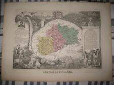 GORGEOUS ANTIQUE 1861 HAUTE SAONE VESOUL FRANCE LEVASSEUR HNDCLR MAP WINE REGION