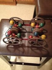 Collectible 1909 Vintage Gong Bell Steel Pull Toy with double bells